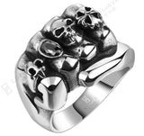 Flower Skull Men Ring Fashion Men Gothic Flower Skull Stainless Steel Biker Ring Titanium Anarchy Death Fist Skull Ring