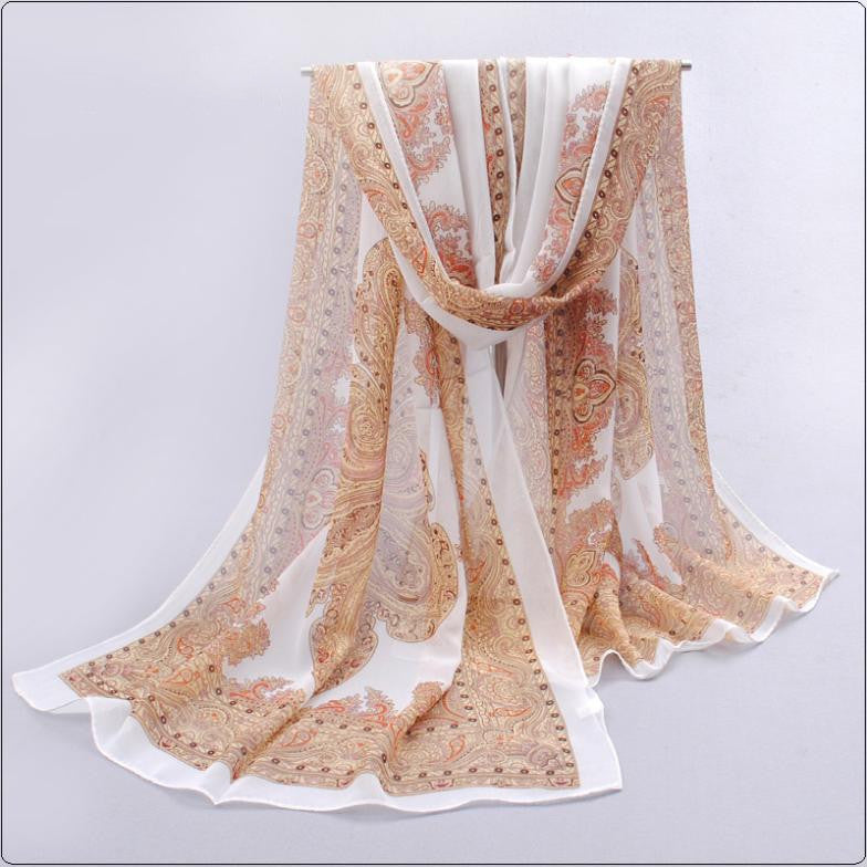 National new summer scarf South Korea female Silk scarves Hand-painted long Print flower Autumn winter Belts Pashmina