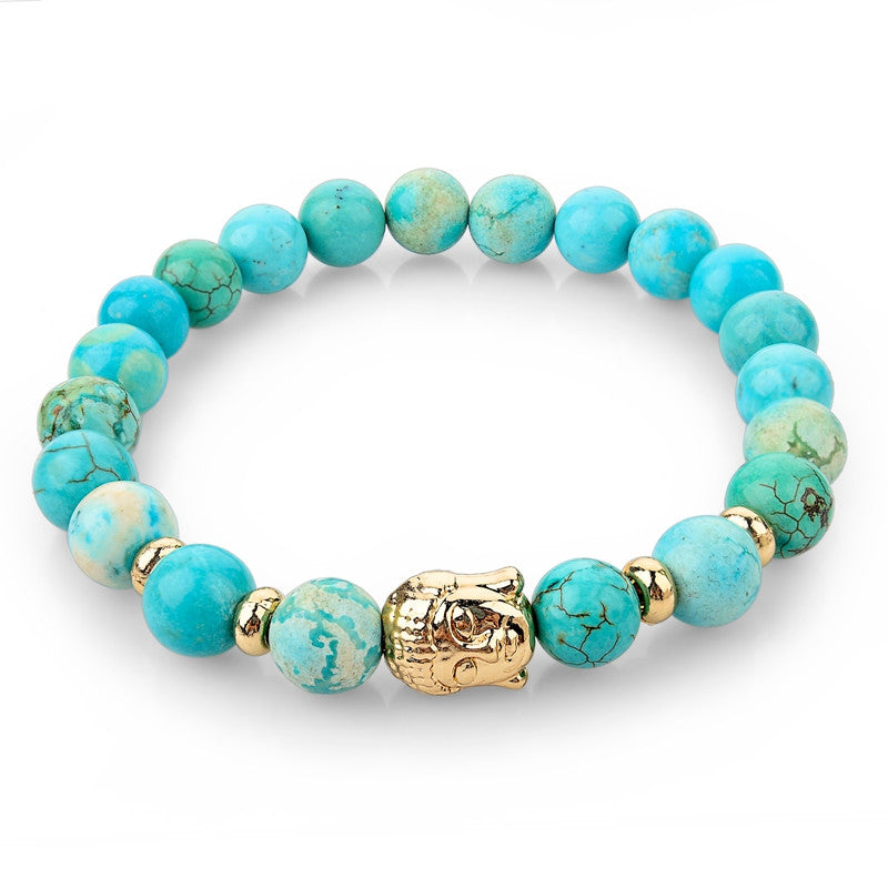 Natural Stone Bead Buddha Bracelets for Women Men Silver Turquoise Black Lava Love Jewelry With Stones Femme Pulseras Mujer