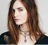 Natural amethyst pendant necklace choker neck fashion jewelry for women