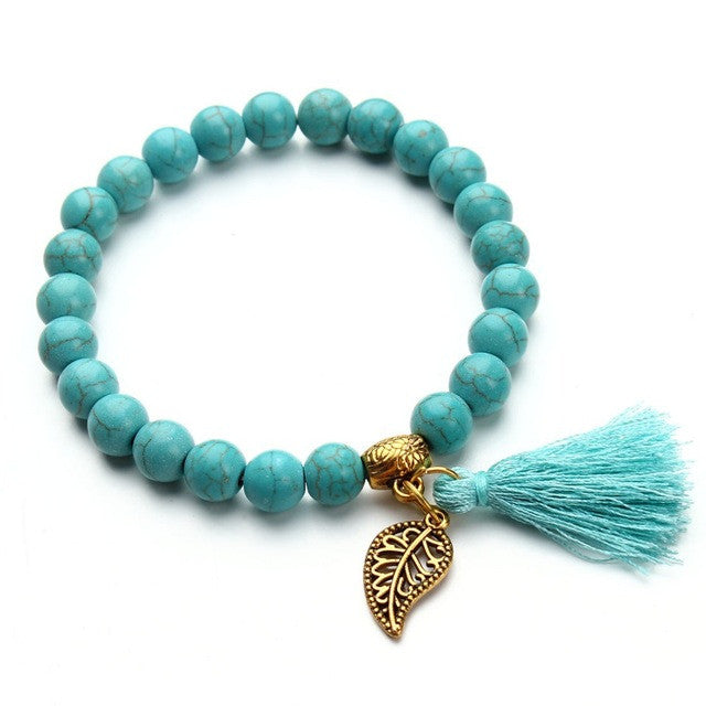 Nature Turquoise Beads Bracelet Joker Tassel Leaves Pulseiras Charm Bracelets & Bangles for Women Jewelry