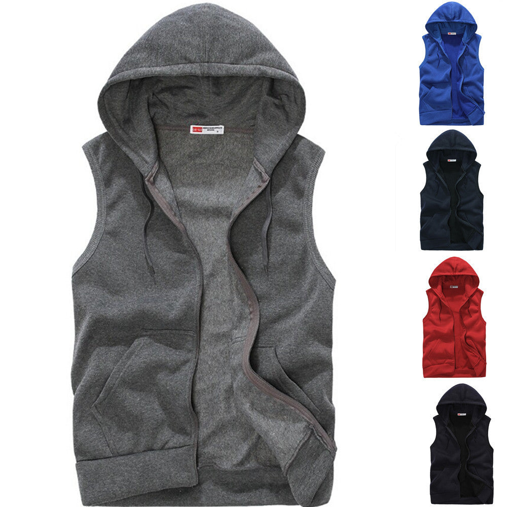 Mens Sleeveless Hoodies Fashion Casual Sports Sweatshirt
