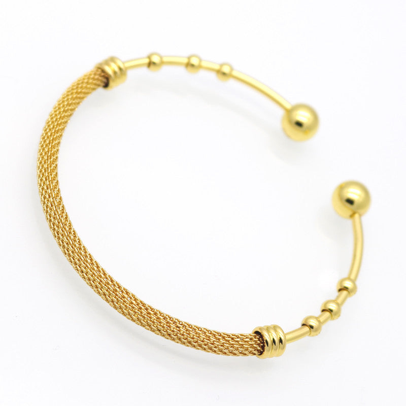 Hot Fashion Women 24K Gold Plated Beads Ball Bangle Stainless Steel Metal Net Cuff Bracelet Jewelry