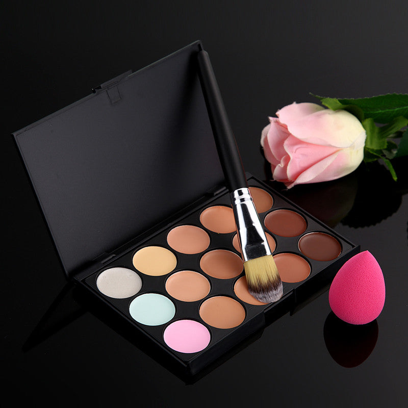 New Arrival 15 Color Concealer Palette + Makeup Brush + Cute Pink Sponge Puff Makeup Contour Palette