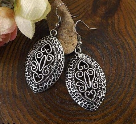 New Arrival Bohemia Vintage Jewelry National elements Tibetan Silver Carving Hollow Retro Drop pendant Earring for Women