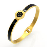 New Arrival Brand Design Double Circle Roman Numerals Cuff Bracelets & Bangles Black Resin Charming Womens Love Bracelets