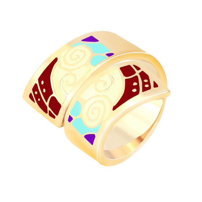 New Arrival Hot Gold Plated Vintage Amazing Spiral Shape Enamel Jewelry Ring