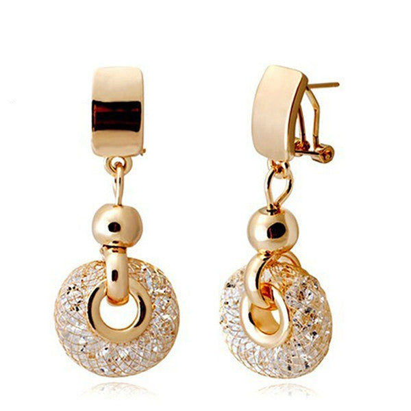New Arrival Luxury 18k Rose Gold Drop Earrings Champagne Wire Zircon Crystal Female Fashion Jewelry