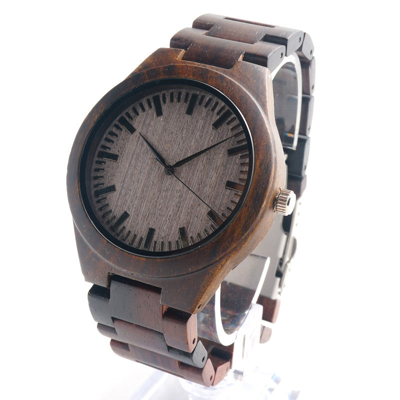 New Arrival Men's Wood Wristwatch Classic Folding Clasp Quarzt Movement Wrist Watch with Wood Strap