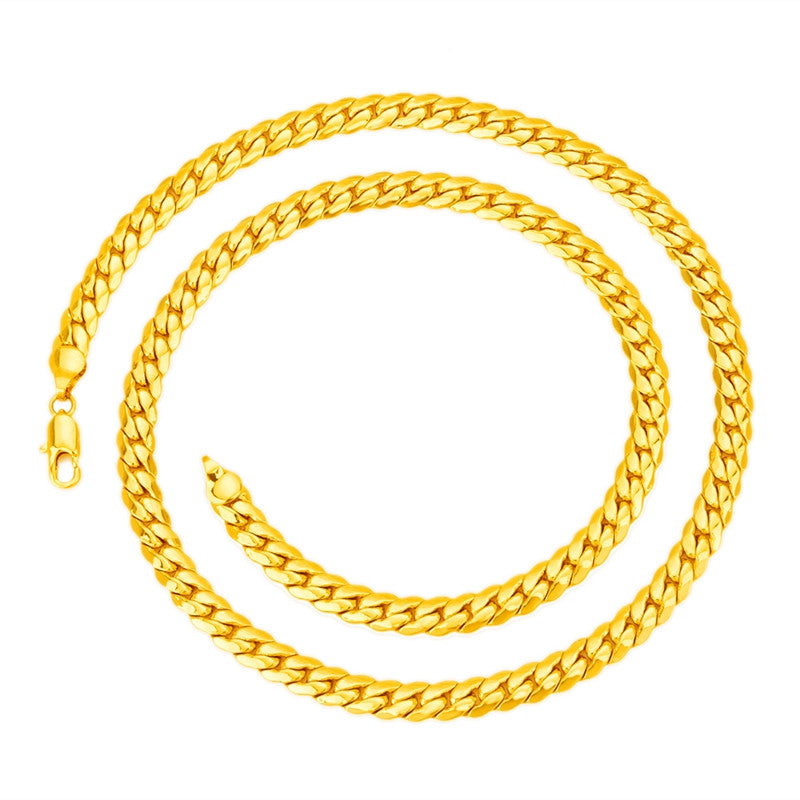 New Arrival Mens 7mm*60cm 18K Real Gold Plated Herringbone Chain Necklace Jewelry
