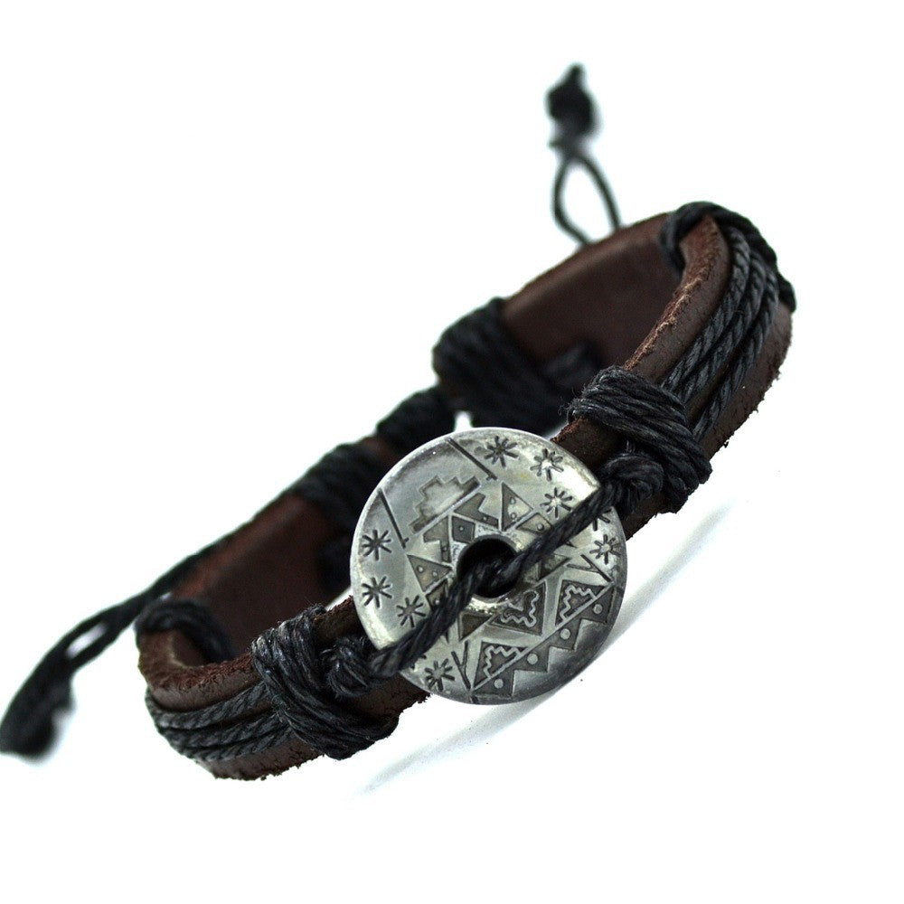 New Arrival Snow Flower Bracelet Style Cuff Charm Genuine Leather Bracelets Vintage Bracelet For Women Men Jewelry