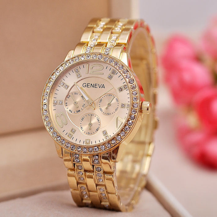 New Arrivals GENEVA Watches Men Diamond Belt Fashion Gift Watch Dress Alloy Wristwatches