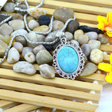 New Arrive Oval Turquoise Statement Necklace Silver Color Jewelry Fashion Chain Necklace for Women Fine Jewelry