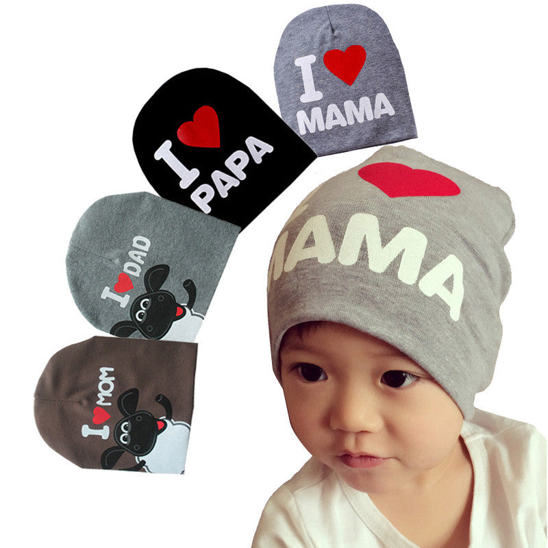 fashion Autumn baby cap knitted warm cotton toddler beanie Cute kids girl boy I LOVE PAPA MAMA print kid hats 1-3 years old
