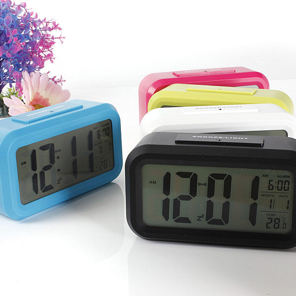 Digital LCD Screen Mini Desktop LED Projector Alarm Clock Multi-function With Snooze+Blue Backlight+Calendar