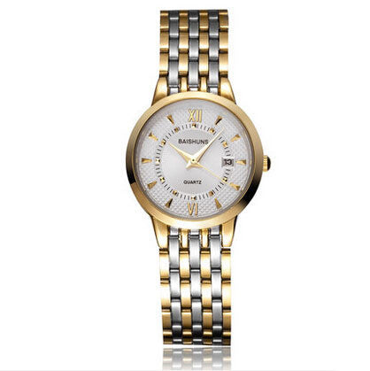 BAISHUNS Luxury Gold Full Steel Watch Women Waterproof Calendar Watch Fashion OL Lady Commercial Watch Relogio Feminino