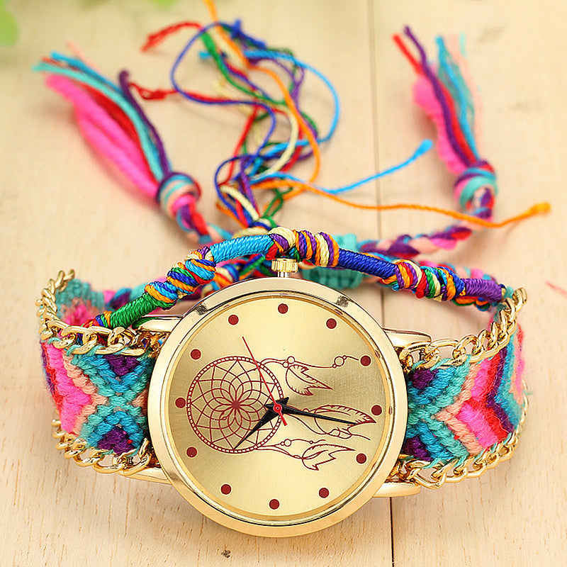 New Brand Handmade Braided Dreamcatcher Friendship Bracelet Watch Rope GENEVA Watch Ladies Quarzt Watches