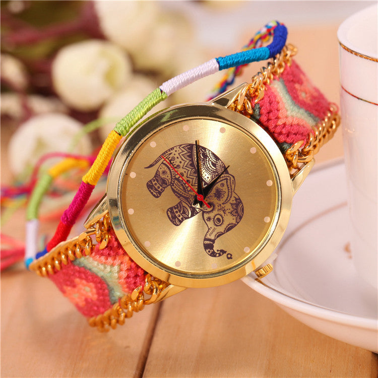 New Brand Handmade Braided Elephant Friendship Bracelet Watch GENEVA Watch Ladies Quarzt Watches