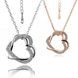 New Brand Jewelry Double Heart Pendants Crystal Necklace Gold-plated/Silver Chain Contemporary Inlay Necklace Women