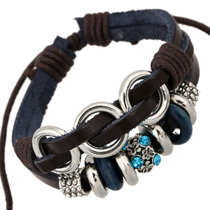 New Brand Women Charm Cowhide Bracelets Cool SWA Element Crystal Leather Braided Cuff Bracelet Stainless Steel Sapphire Jewelry