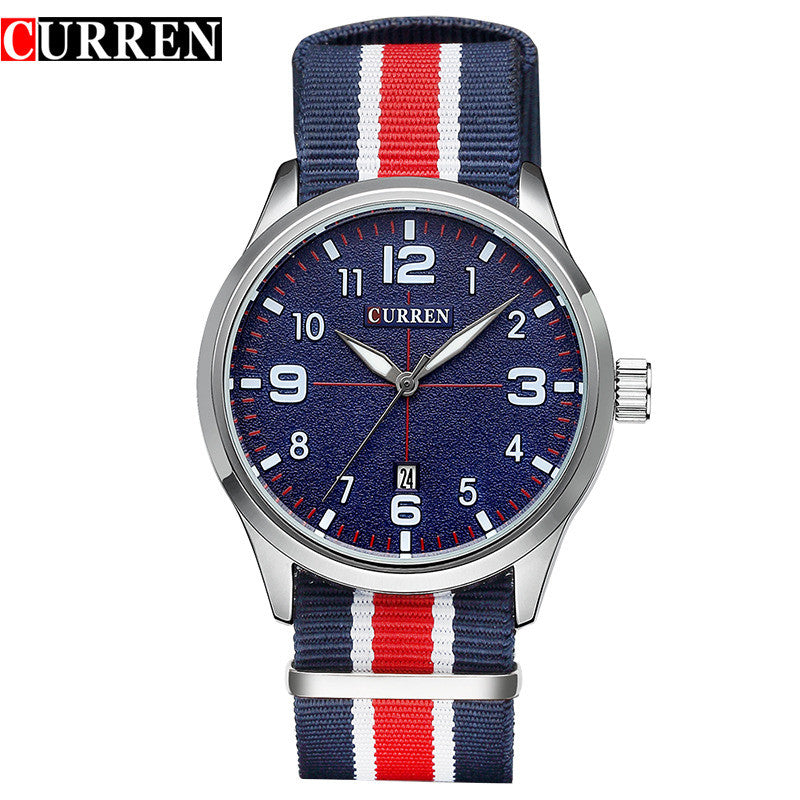 New Curren Watches Men Top Brand Luxury Mens Nylon Strap Wristwatches Men's Quartz Popular Sports Watches relogio masculino