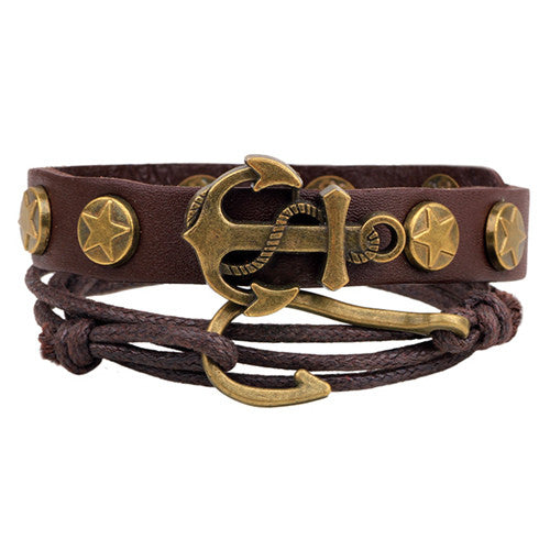 New Design 1 Set Men's bracelet Women Vintage Multilayer Leather Bracelets bangles Jewelry pulsera Hombre