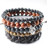 New Design 5 pcs 1 set Natural Stones Men Bracelets Women Charm Bracelets & Bangles Leather Wooden Beads Wrap Wristband Cuff
