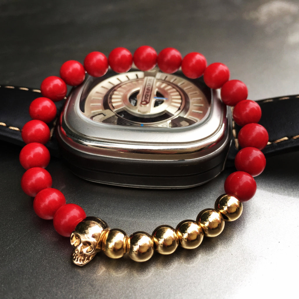 New Design 8MM Red Coral Natural Agate Stone Bracelets Skull Charm Bracelets For Men Jewelry Gift Strand Bracelets