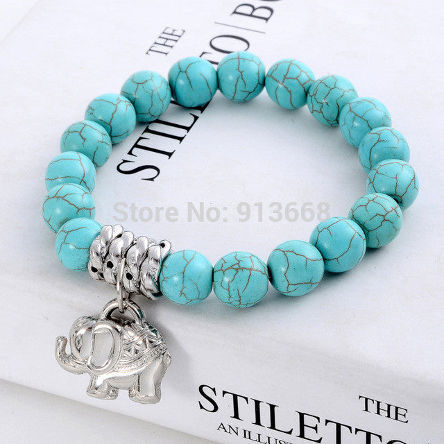 New Design Fashion Vintage Bohemia National style Turquoise Beaded Tibetan Silver Elephant charm Stretch bracelet jewelry