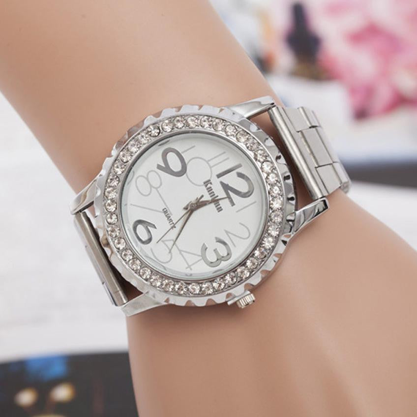 New Design Fashion Women watches Rhinestone Alloy band Analog Quartz Wrist Watch