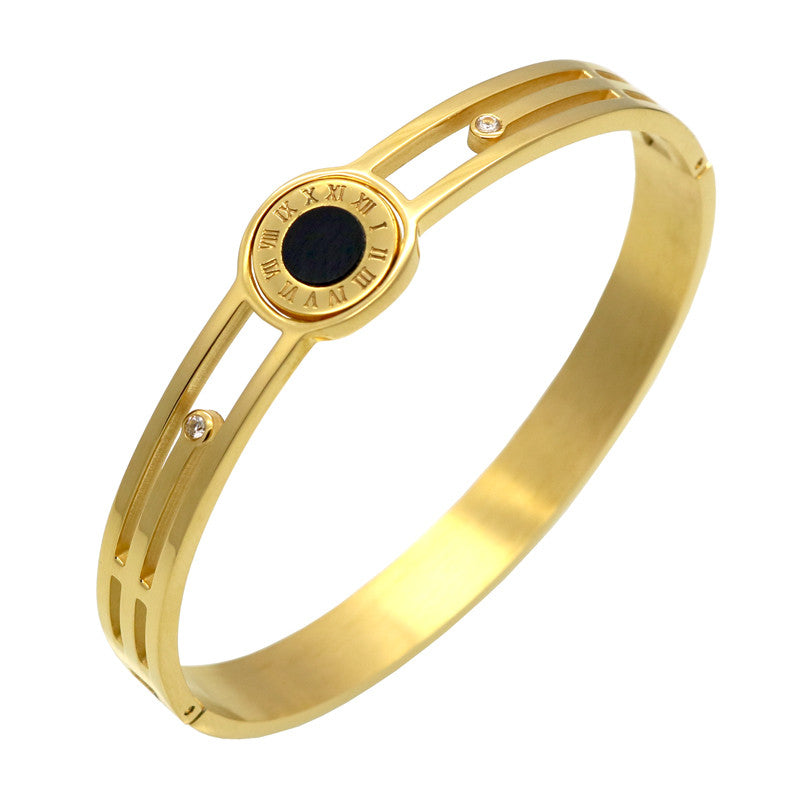 New Design Turnable (One Side is White,One Side is Black) 18k Gold Love Bracelets Bangles Wholesale Women Stainless Steel Bangle