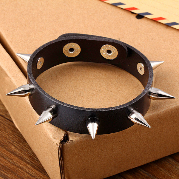 New Design hot Fashion Personality Hip-hop hippie punk rock Rivets Men Leather Bracelet jewelry