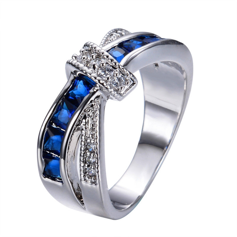 New Fashion Blue Female Ring White Gold Filled Jewelry Crossed Wedding Rings Engagement Rings For Women