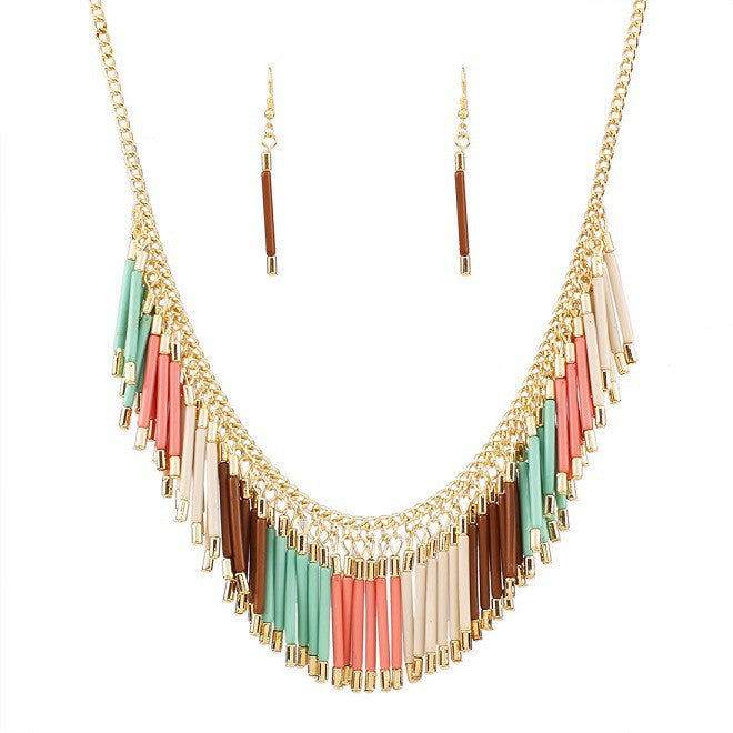 New Fashion Charm Jewelry Set Pendant Chain Resin Tassel Choker Statement Bib Necklace Earrings
