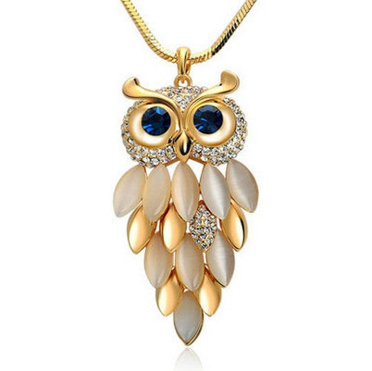 New Fashion Charms Crystal Owl Necklace Vintage Rhinestone Cubic Zircon Diamond Long Chain Necklaces&Pendants Women Jewelry