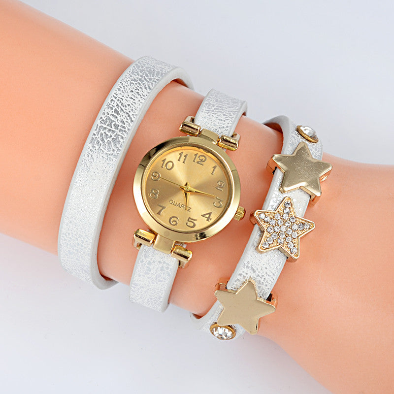 New Fashion Five-pointed star Leather Bracelet Watch Women Quartz Watch Ladies Dress Watch