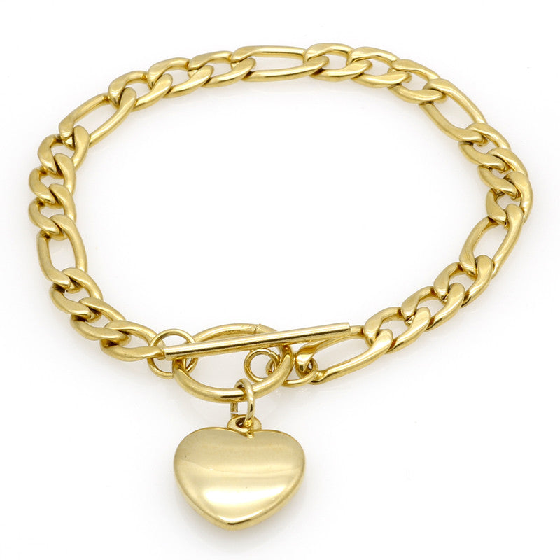 New Fashion Heart Bracelets Bangles Women Big Brand Design Charm Jewelry High Quality Stainless Steel Wedding Christmas Gift