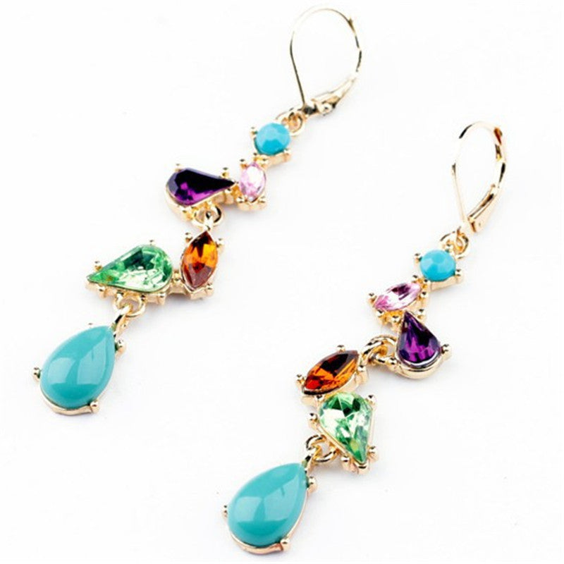 New Fashion Jewelry Alloy Multicolor Long Drop Earrings for Women