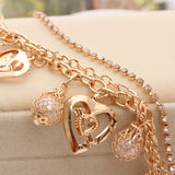 New Fashion Jewelry Gold Chain Jewelry Heart Pendant Multilayer bracelet factory price wholesales bracelets & bangles
