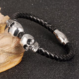 New Fashion Jewelry Man Accessories Handmade Cowide Leather Stainless Steel Skull Adornment Bangles Rock Punk Bracelet