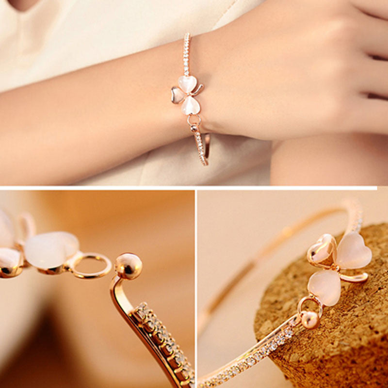 New Fashion Jewelry Sweet Clover Opal Charm Crystal Bows Love Heart Bracelet Bangle for Women