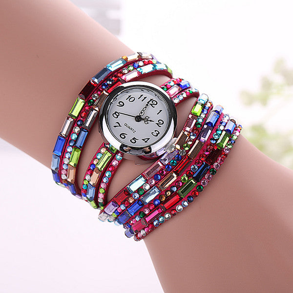 New Fashion Luxury Gemstone Leather Wristwatches Casual Women Dress Quartz Watch Reloj Mujer Hot relogio feminino