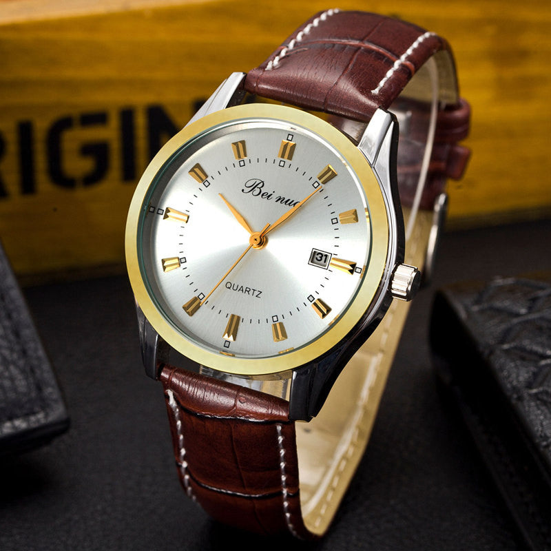 New Fashion Men Quartz Watches Sports Military Wristwatch PU Leather Strap Watch Casual Business Watch Male Relogio