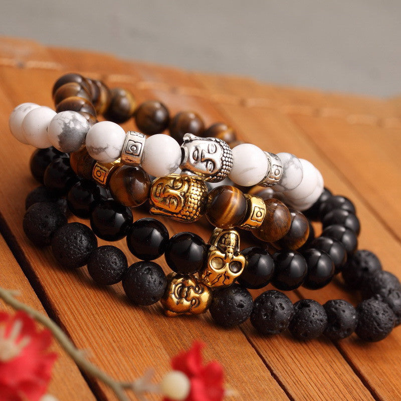Fashion Men's Bracelet Gold Silver Buddha skull Elastic Black Color Beaded Tibet Charm Lucky bracelets for women