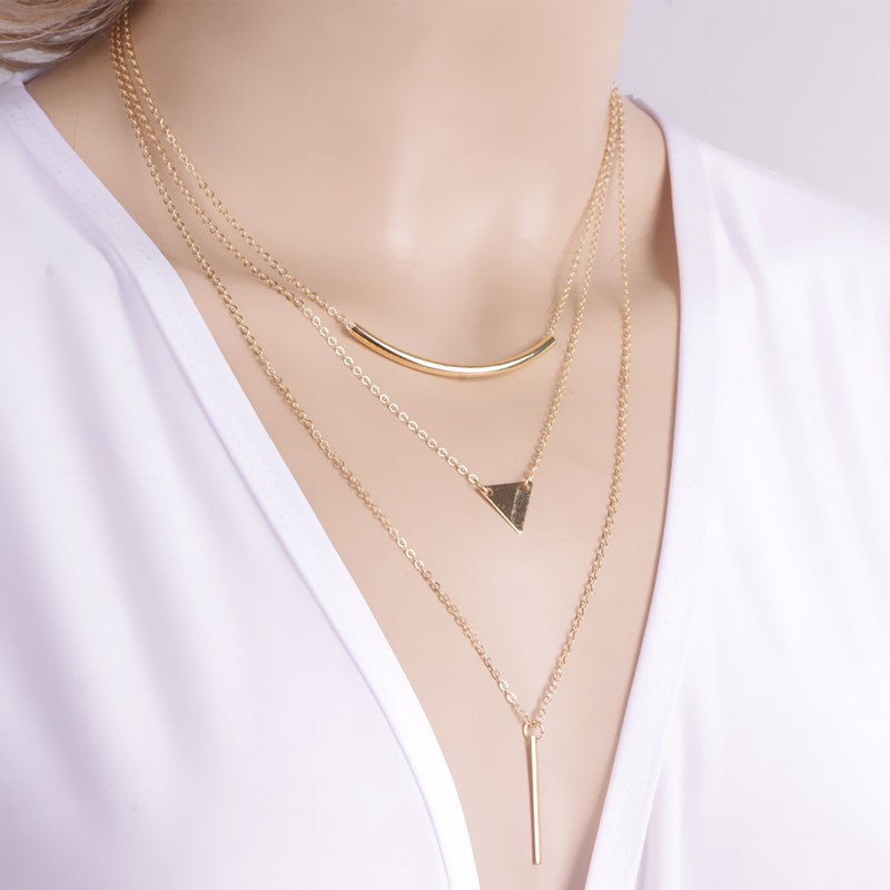 New Fashion Multi layer Geometric Designed Gold Silver Bar Stick Triangle Chain Choker Necklace Pendant