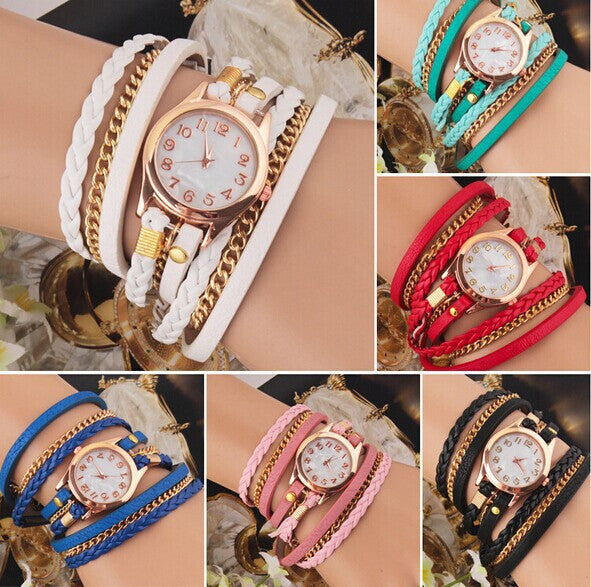 New Fashion Retro Vintage Colorful Multilayer Faux Leather Strap Band Wrap Women Bracelet Quartz Wrist Watch Female