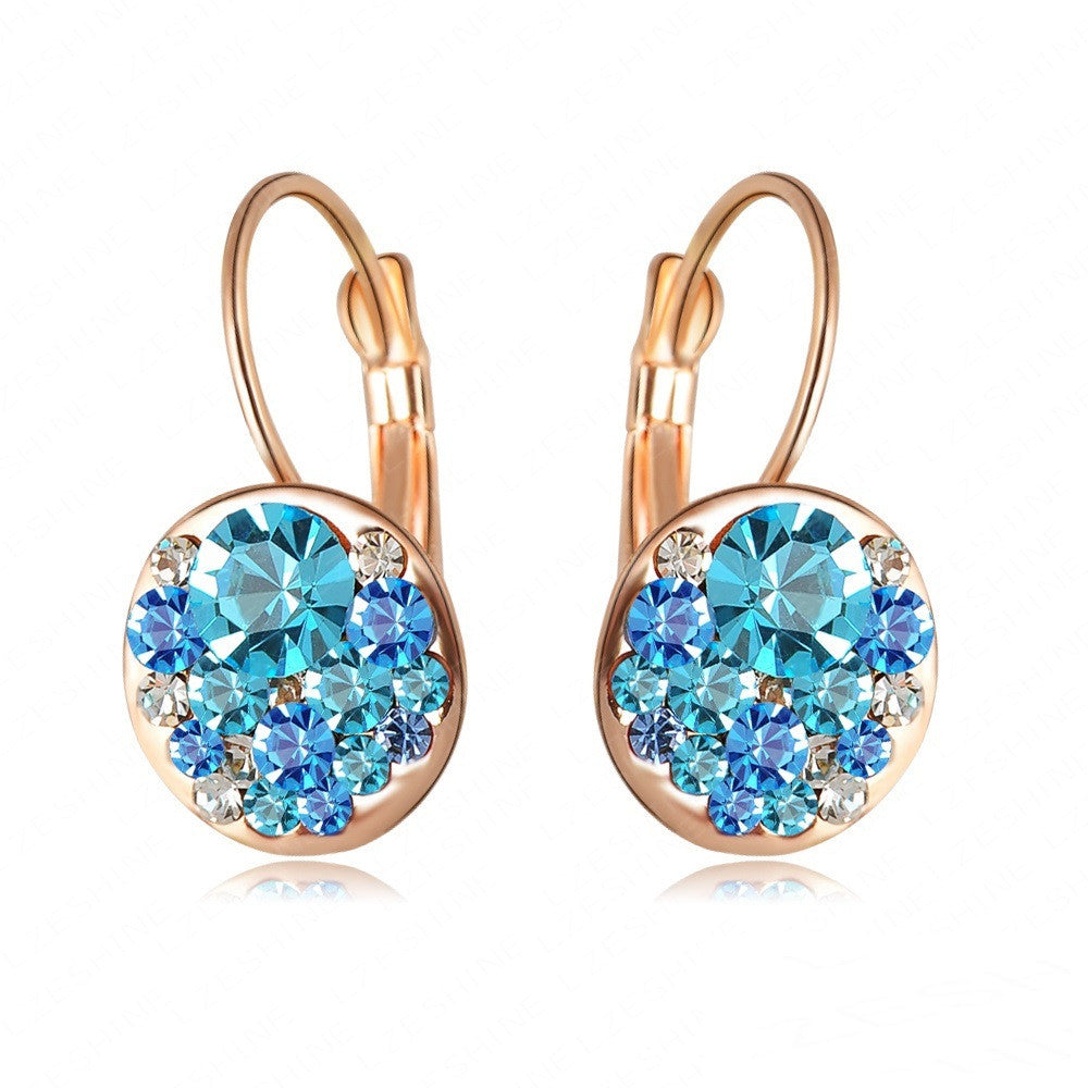 New Fashion Round Earrings Stud 18K Rose Gold Plated With Austrian Crystals Women Earrings