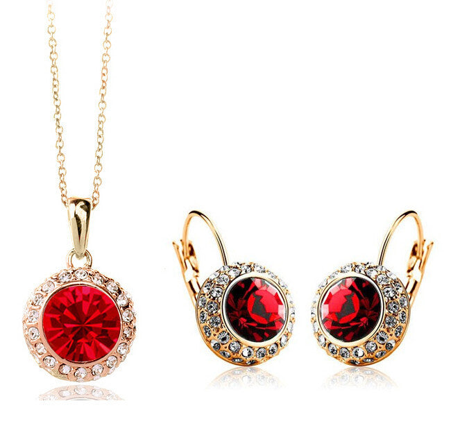 New Fashion Wedding Crystal Jewelry Sets Vintage Moon River Rhinestone Top Quality Necklace Earrings for Women