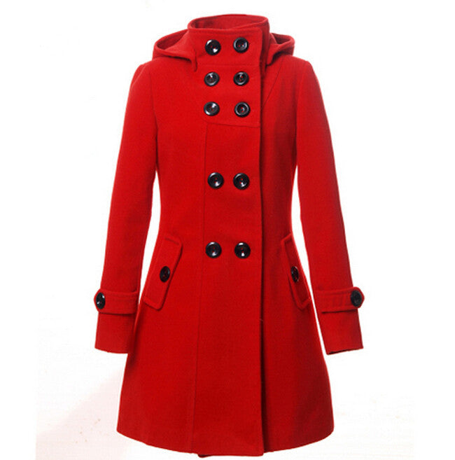 New Fashion Winter Wool Coat Women Coat Women's Slim Long Blend Hooded Collor Double Breasted Coat Outerwear