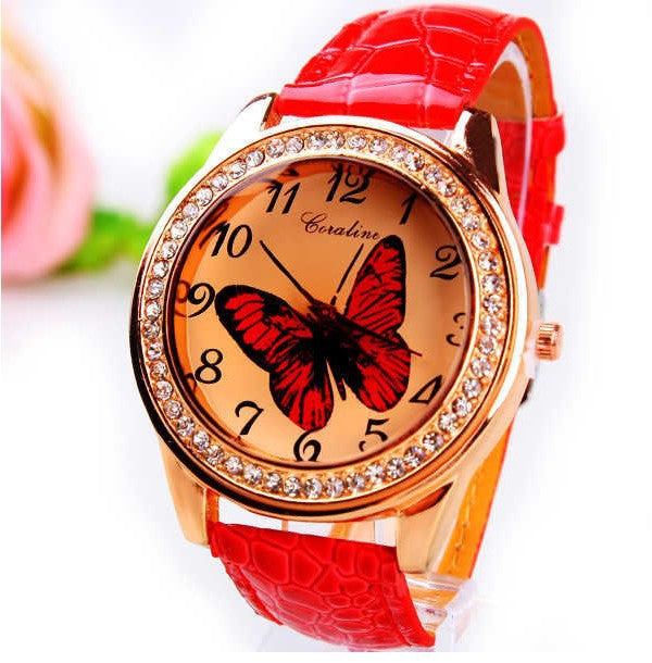 New Fashion Women Wristwatch Cute Butterfly Pattern Rhinestone Casual Watch PU Leather Quartz Dress Watch Women Ladies Watch